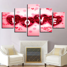 Rose Petals Love 5 Piece HD Multi Panel Canvas Wall Art Frame