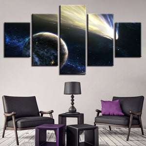 Comet And Planet 5 Piece HD Multi Panel Canvas Wall Art Frame