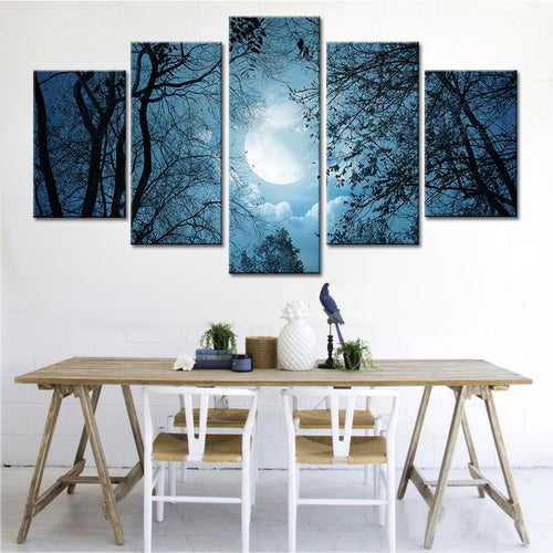 Moonlit Forest Night 5 Piece HD Multi Panel Canvas Wall Art Frame