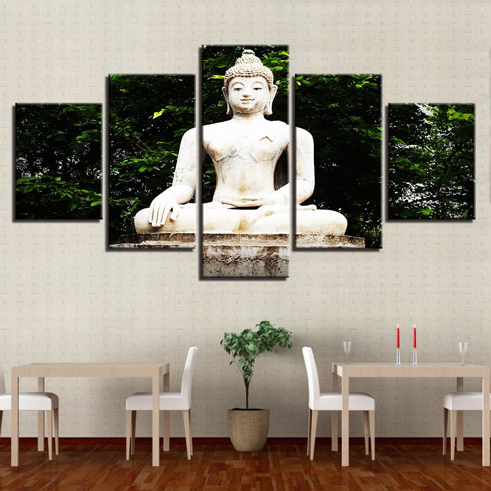 Buddha Statue Under Tree 5 Piece HD Multi Panel Canvas Wall Art Frame