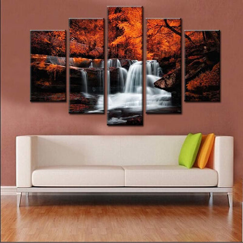 Waterfalls & Autumn 5 Piece HD Multi Panel Canvas Wall Art Frame