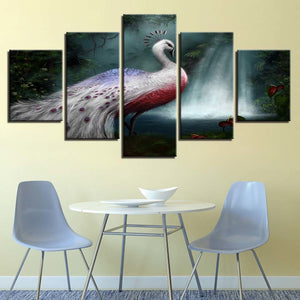 White Peacock 5 Piece HD Multi Panel Canvas Wall Art Frame