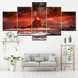 Pieces Volcano Eruption Sea 5 Piece HD Multi Panel Canvas Wall Art Frame