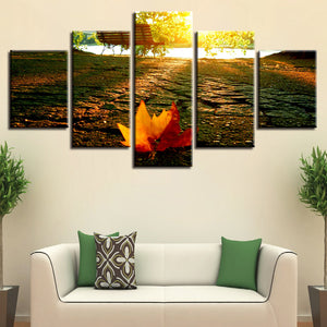 Maple Leaf Park 5 Piece HD Multi Panel Canvas Wall Art Frame