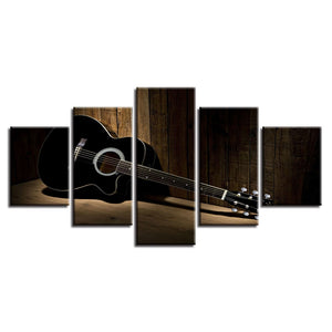 Acoustic Guitar 5 Piece HD Multi Panel Canvas Wall Art Frame