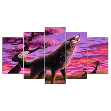 Animal Wolf Blossom 5 Piece HD Multi Panel Canvas Wall Art Frame
