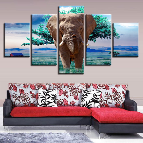Elephants And Green Trees 5 Piece HD Multi Panel Canvas Wall Art Frame