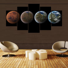 Four Planets 5 Piece HD Multi Panel Canvas Wall Art Frame