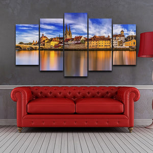 Germany Sunset Scenery 5 Piece HD Multi Panel Canvas Wall Art Frame