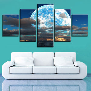 Moon Clouds 5 Piece HD Multi Panel Canvas Wall Art Frame