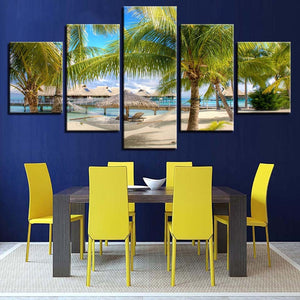 Coconut Trees Beach 5 Piece HD Multi Panel Canvas Wall Art Frame