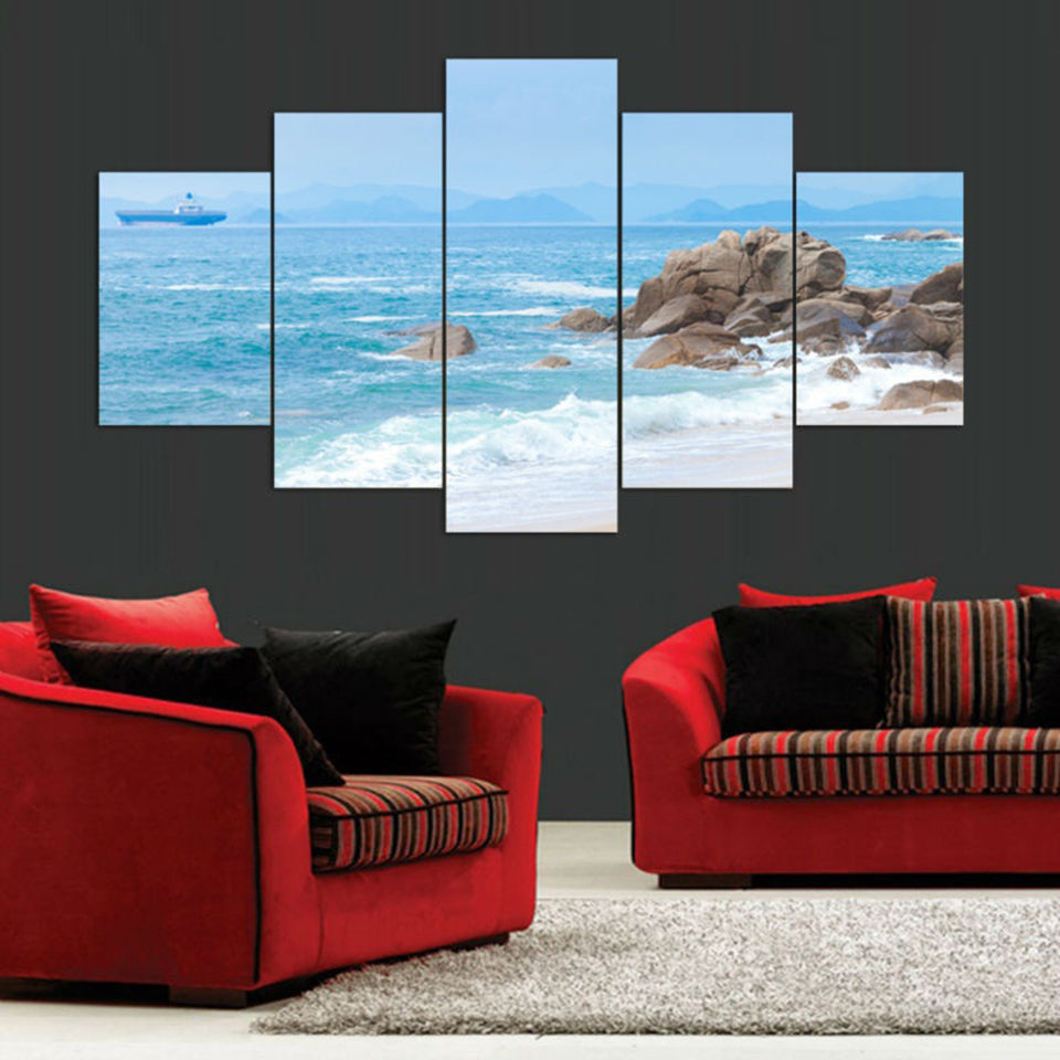 Tide And Reef 5 Piece HD Multi Panel Canvas Wall Art Frame