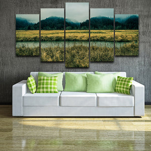 Green Forest Field 5 Piece HD Multi Panel Canvas Wall Art Frame