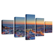 Beautiful City Sunrise 5 Piece HD Multi Panel Canvas Wall Art Frame