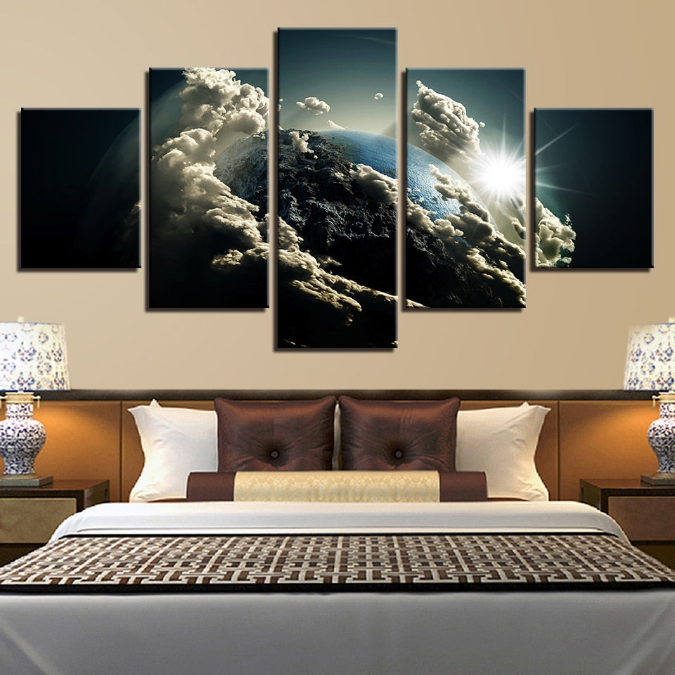 Earth From The Space 5 Piece HD Multi Panel Canvas Wall Art Frame