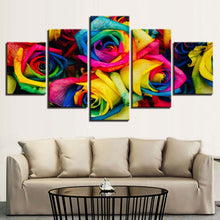 Colorful Roses 5 Piece HD Multi Panel Canvas Wall Art Frame