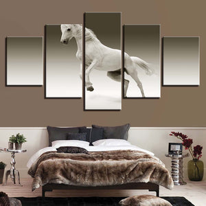 Animal White Horse 5 Piece HD Multi Panel Canvas Wall Art Frame