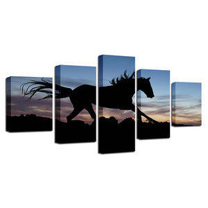 Running Horse In Sunset 5 Piece HD Multi Panel Canvas Wall Art Frame