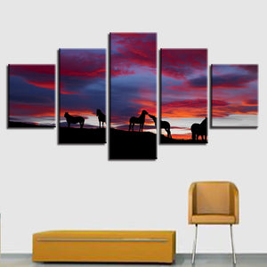 Icelandic Horses Sunset 5 Piece HD Multi Panel Canvas Wall Art Frame