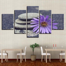 Purple Stone Flower 5 Piece HD Multi Panel Canvas Wall Art Frame