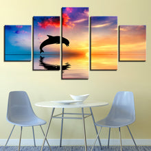 Dolphins Jump Out Of Sea 5 Piece HD Multi Panel Canvas Wall Art Frame