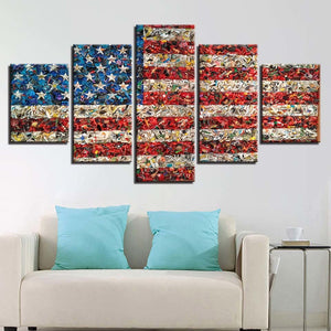 American Flag Retro 5 Piece HD Multi Panel Canvas Wall Art Frame