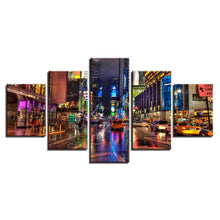 City Street Night 5 Piece HD Multi Panel Canvas Wall Art Frame