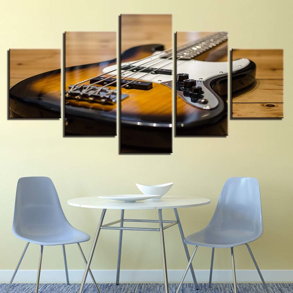 Guitar Musical Instrument 5 Piece HD Multi Panel Canvas Wall Art Frame