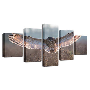 Owl Wings 5 Piece HD Multi Panel Canvas Wall Art Frame