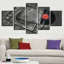 Retro Music Disc 5 Piece HD Multi Panel Canvas Wall Art Frame