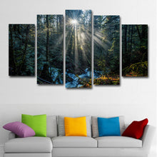 Morning Rays of Sun 5 Piece HD Multi Panel Canvas Wall Art Frame