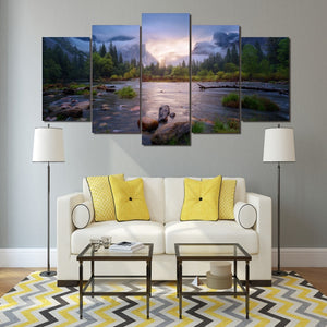 Cloudy Forest 5 Piece HD Multi Panel Canvas Wall Art Frame