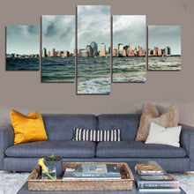 Water Buildings 5 Piece HD Multi Panel Canvas Wall Art Frame