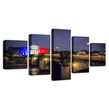 Paris Concorde Bridge 5 Piece HD Multi Panel Canvas Wall Art Frame