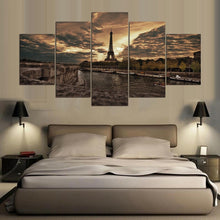 Majestic Eiffel Tower at Twilight 5 Piece HD Multi Panel Canvas Wall Art Frame