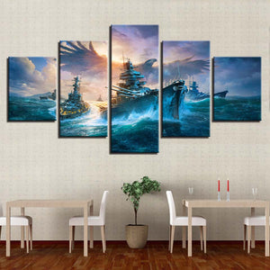Battleships And Eagle 5 Piece HD Multi Panel Canvas Wall Art Frame