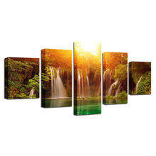 Sunshine Waterfall 5 Piece HD Multi Panel Canvas Wall Art Frame