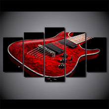 Red Guitar 5 Piece HD Multi Panel Canvas Wall Art Frame