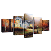 Village Cottage 5 Piece HD Multi Panel Canvas Wall Art Frame