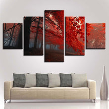 Red Forest Trees 5 Piece HD Multi Panel Canvas Wall Art Frame