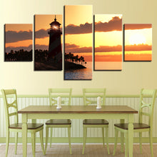 Lighthouse Sunset 5 Piece HD Multi Panel Canvas Wall Art Frame
