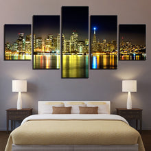 Night View 5 Piece HD Multi Panel Canvas Wall Art Frame