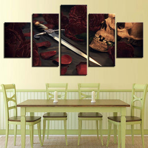 Skull And Sword 5 Piece HD Multi Panel Canvas Wall Art Frame