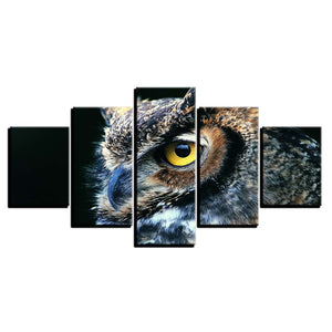 Nocturnal Owl 5 Piece HD Multi Panel Canvas Wall Art Frame