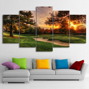 Golf Course Sunrise 5 Piece HD Multi Panel Canvas Wall Art Frame