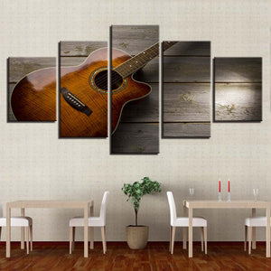 Classical Guitar 5 Piece HD Multi Panel Canvas Wall Art Frame