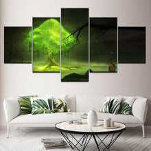 Green Tree 5 Piece HD Multi Panel Canvas Wall Art Frame