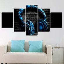 Music Headphones 5 Piece HD Multi Panel Canvas Wall Art Frame