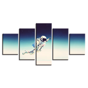Flying Astronaut 5 Piece HD Multi Panel Canvas Wall Art Frame