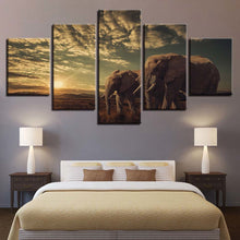 Elephant Couples 5 Piece HD Multi Panel Canvas Wall Art Frame